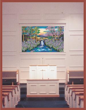 religious images backlit baptistery scene